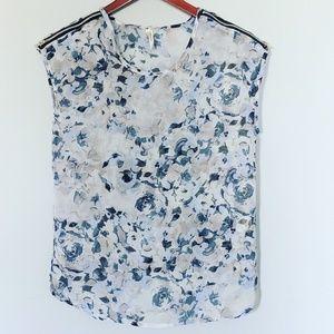 Truth Floral Watercolor Blue Zipper Blouse